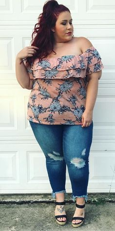 "6741273a407f Megan - CurvesCurlsandClothes on Instagram  ""Bare those shoulders!! Loving  this  loraletteplus off the shoulder tiered top!"