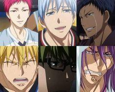Kuroko no Basket ~~ Generation of Miracles / Kiseki no Sedai Crying ; Midorima Shintarou, Kise Ryouta, Kagami Taiga, Akashi Seijuro, Kuroko Tetsuya, Kuroko No Basket, I Love Anime, Anime Guys, Crying Tumblr