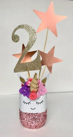 (The number is your choice) Unicorn Mason jar Centerpieces, Unicorn Birthday decorations. (The number is Diy Unicorn Birthday Party, Unicorn Birthday Decorations, Unicorn Centerpiece, 1st Birthday Party Themes, Birthday Party Centerpieces, Mason Jar Centerpieces, Mason Jars, Birthday Ideas, Birthday Numbers