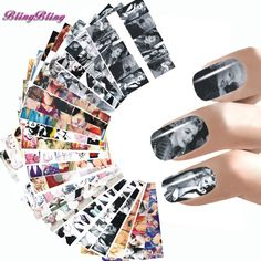24 Styles Nail Sticker Marilyn Monroe Nail Art Water Decals Audrey Hepburnl Design Nail Wraps Transfer Foil Nails Decorations *** Read more reviews of the product by visiting the link on the image.