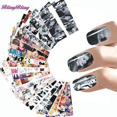 24 스타일 네일 스티커 마릴린 먼로 네일 아트 워터 데칼 오드리 Hepburnl 디자인 네일 랩 전송 호일 손톱 장식