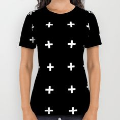 White Plus on Black /// www.pencilmeinstationery.com All Over Print Shirt by Pencil Me In ™. Worldwide shipping available at Society6.com. Just one of millions of high quality products available.
