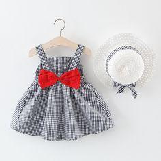 Plaid Baby Girls Dresses With Hat Boho Fashion Summer, Cute Baby Girl, Baby Girls, Toddler Girls, Baby Girl Hats, Baby Girl Dresses, Princess Dresses, Dress Girl, Baby Summer Dresses