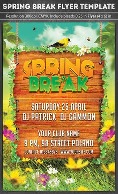 Spring Break Party Flyer — Photoshop PSD #flyer #nightclub • Available here → https://graphicriver.net/item/spring-break-party-flyer/7188386?ref=pxcr