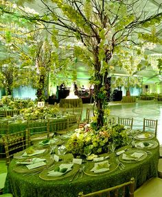 I like the over head aspect. green wedding reception ideas