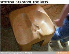 Kilt wearers bar stool.