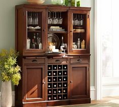 Modular Bar System with 2 Glass Door Hutch And 1 Open Hutch | Pottery Barn in a lighter color