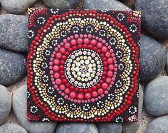 """Tablero, pintura de acrílico, decoración boho, arte ombre la lona aborígenes punto arte pintura, Fire Design, por Biripi artista Raechel Saunders, 4 """"x 4"""""""