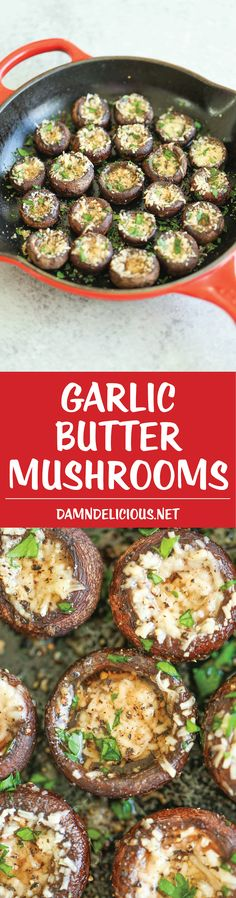 Garlic Butter Mushrooms - Simple, elegant yet so stinking easy. It's practically fool-proof! An essential side dish to all your meals! Side Dish Recipes, Veggie Recipes, Appetizer Recipes, Side Dishes, Appetizers, Cooking Recipes, Healthy Recipes, Garlic Butter Mushrooms, Mushroom Recipes