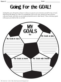 Goal setting pack (sports themed) with different writing ideas. Perfect for Back to School goal setting Sports Theme Classroom, School Classroom, Classroom Ideas, Beginning Of The School Year, Back To School, Theme Sport, Team Theme, Soccer Theme, Soccer Goals