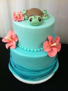 Cake inspiration photo: Sea turtle birthday celebration - New Deko Sites Turtle Birthday Parties, Hawaiian Birthday, Luau Birthday, Beach Birthday Cakes, Hawaiian Parties, Turtle Party, Hawaiian Luau, Birthday Ideas, Turtle Birthday Cakes