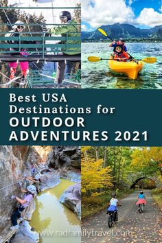 Discover the best USA destinations for outdoor adventure travel for your family in 2021. We've rounded up fun and active vacation ideas in gorgeous spots where you can get out in nature and enjoy all kinds of outdoor recreation. Sit down with your kids and teens and see which of these outdoor travel destinations are need to be added to the top of you family's bucket list. #getoutside #adventuretravel #USAtravel #familytravel #bucketlisttravel Family Adventure, Adventure Travel, Family Travel, Family Trips, Family Vacations, Outdoor Recreation, Us Travel Destinations, Get Outdoors, National Parks