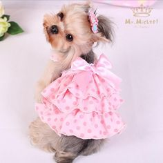 Quality Cute Polka Dot Dog Dresses Summer Pet Dress Yorkie Princess Dress with Satin Bow Lovely Dress For Small Dogs Pet Clothes - Quality Cute Polka Dot Dog Dresses Summer Pet Dress Yorkie Princess Dr – EllaSeal - Girl Dog Clothes, Cute Dog Clothes, Small Dog Clothes, Pet Dogs, Pets, Dog Clothes Patterns, Pet Fashion, Pet Costumes, Girl And Dog