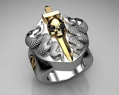 Unique Mens Ring Snake and Skull Shield Ring Sterling Silv… | Flickr