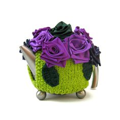 Cottage tea cosy knit teapot cozy flowers lime green chic cosie with purple and green sparkle ribbon roses
