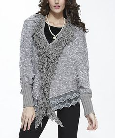 Another great find on #zulily! Gray Lace Wool-Blend Open Cardigan by Simply Couture #zulilyfinds