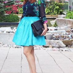"Turquoise Mini Skater Skirt T&J Designs 100% Polyester Medium - 28.5"" waist | 17.5"" length Back invisible zipper fastening Imported T&J Designs Skirts Midi"