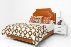 Avalon Bed in Hermes Orange Faux Leather