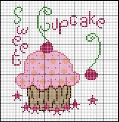 Gratuito Sweet Cupcake - Made in Cici Cupcake Cross Stitch, Cross Stitch Fruit, Cross Stitch Boards, Cross Stitch Kitchen, Cross Stitch Designs, Cross Stitch Patterns, Cross Stitching, Cross Stitch Embroidery, Stitch Cartoon
