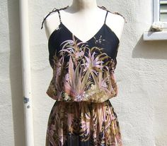 70s disco dress // sheer black PINK floral, spaghetti straps, OOAK by dahlilafound, $44.00
