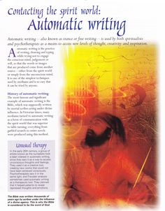 Divination:  BOS Contacting the Spirit World: Automatic Writing page.