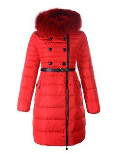 2012 Classic Womens Moncler Herisson Coat Fur Collar Red [2899832] - 192.76 :