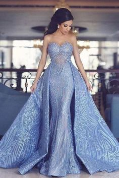 Elegant sweetheart mermaid prom dress with detachable train, fashion blue . Elegant Sweetheart Mermaid Prom Dress With Detachable Train, Fashion Blue Evening Dresses Blue Evening Dresses, Elegant Prom Dresses, Top Wedding Dresses, Prom Dresses Blue, Mermaid Prom Dresses, Pretty Dresses, Evening Gowns, Sexy Dresses, Formal Dresses