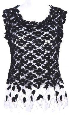 #SheInside Black and White Sleeveless Leaf Lace Blouse
