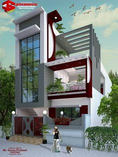 Modern House Bungalow Exterior By Ar Sagar Morkhade: Pin By Robert Caron On Private Villas In 2019 House Outer Design, House Floor Design, House Design Photos, Modern House Design, Modern Bungalow House, Bungalow Exterior, Dream House Plans, Modern House Plans, Village House Design