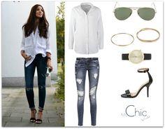 fot. lookastic.com; white shirt Samsøe & Samsøe, jeans Only, sandals Pedro Miralles, sunglasses Ray-Ban, watch Komono, bracelets Yes