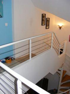 poteaux d 39 escalier pour garde corps en kit avec c ble inox metalbrut gardecorps cableinox. Black Bedroom Furniture Sets. Home Design Ideas