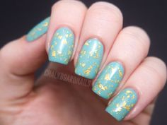 Gold Leaf Egg Nails