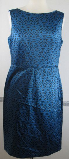 Sheath Dress 8 Banana Republic Polyester Blend Blue Black Geometric Pattern Slee #BananaRepublic #Sheath #Casual