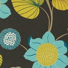 Blue/Yellow Delilah Curtain Fabric (terrysfabrics)