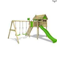 Wooden tower playhouse FunFactory Fit XXL with Swing. Large selection of wooden climbing frames, outdoor toys and much more in the online Wickey Shop. Modern Front Porches, Screened Porch Designs, Front Porch Design, Cubby Houses, Play Houses, Wooden Climbing Frame, Climbing Frames, Playhouse With Slide, Fresh