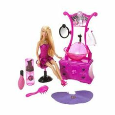 Barbie Style Salon Playset by Mattel. $681.94. Wash Barbie dolls hair in the real working glitter sink. Day at the salon with Barbie doll!. Create glam hairstyles with all the fun tools!. Pink stylists vanity. Includes salon chair, Oh My Hair detangler, logo poncho, towel, Barbie doll and more!. From the Manufacturer                BARBIE STYLE SALON Playset Play out all the fun of star stylist and a day at the salon with Barbie doll! Wash Barbie dolls hair in the real working gl...