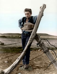 James Dean - on the set of 'Giant'.