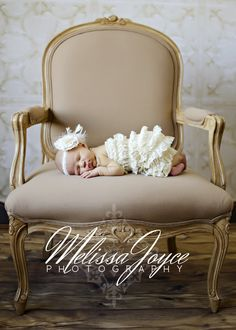 Gorgeous Newborn Baby Girl Portrait. She Sleeps In A Crème Pettiromper On Fabulous French Velvet Taupe Chair <3