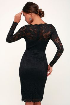 Be prepared to turn heads when you step out in the Lulus Margalo Black Lace Long Sleeve Bodycon Dress! Black lace boat neck dress with long sleeves. Christmas Dress Women, Holiday Dresses, Winter Dresses, Curvy Women Outfits, Trendy Clothes For Women, New Years Eve Dresses, Boat Neck Dress, Black Long Sleeve Dress, Body Con Skirt