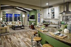 The kitchens at Stepping Stone are bright, airy, and have cool features like hoods, pops of color, and funky hardwood floors.