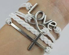 Love Bracelet - silvery infinity bracelet, karma bracelet, cross bracelet, rope bracelet, leather bracelet-gift for her/him on Wanelo