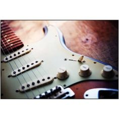 Electric Guitar on an Old Wooden Surface Photography by Eazl, Size: 24 x 16, White