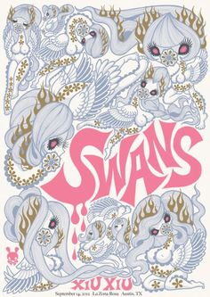 Swans gig poster by Junko Mizuno