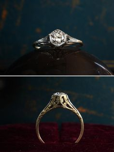 Antique Ring from Erie Basin - Art Deco European Cut Diamond Ring, Gold, (sold) Antique Engagement Rings, Antique Rings, Vintage Rings, Antique Jewelry, Vintage Jewelry, European Cut Diamonds, Victorian Jewelry, Diamond Are A Girls Best Friend, Rings