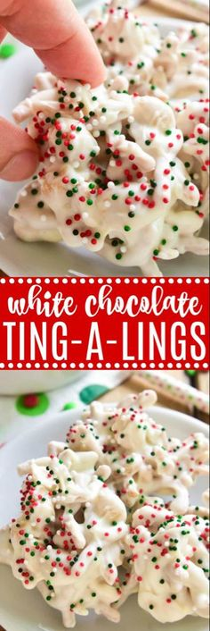 White Chocolate Ting-a Lings are one of our favorite holiday treats! Loaded with salty peanuts and crunchy chow mein noodles, then smothered in white chocolate and decorated with red, green & white Christmas sprinkles, they're the perfect salty-sweet no-b Christmas Sprinkles, Christmas Snacks, Christmas Cooking, Holiday Treats, Holiday Recipes, Christmas Candy, Christmas Chocolate, Christmas Recipes, Christmas Appetizers