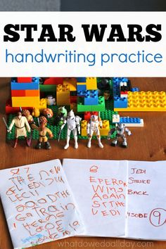 Handwriting practice for kids who love Star Wars movies. Help reluctant writers exercise their fine motor muscles by writing books about what interest them.