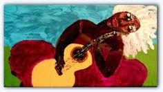 ALDENORA  Acrylic on 12 x 6 Canvas Ethnic Folk by StaceyTorresART