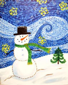 """Social Artworking Canvas Painting Design - Starry Snowman  Our whimsical and wintry version of this van Gogh classic is sure to please. With the addition of a snowman (with an optional top hat), this painting will be the perfect foundation for a wintertime painting party.  CANVAS SIZE:  16"""" x 20""""  TIME TO PAINT:  approximately 2 hours 30 minutes"""