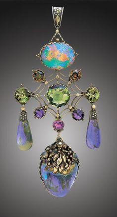 ca 1910 Artificier's Guild pendant; Tadema Gallery - are you kidding me? Look at that opal.