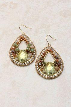 Fiery Opal Crystal Teardrop Earrings | Emma Stine Jewelry Earrings